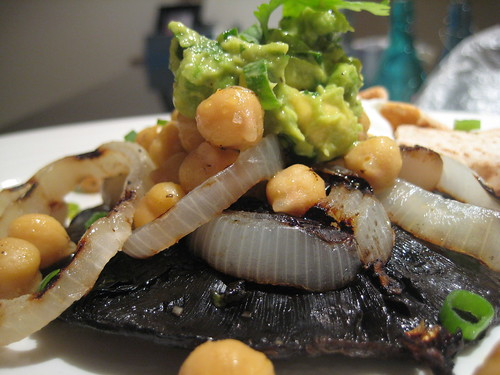 Portobello Mushroom Steak with Garbanzo Beans and Avocado Salsa