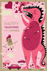 HAPPY VALENTINES DAY EVERYONE! (tad carpenter) Tags: love illustration poster silkscreen valentines monsters tad cupid carpenter