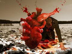 I gave her my heart... (Matt West) Tags: snow love blood heart valentine bobdylan gore horror valentines romantic friday13th