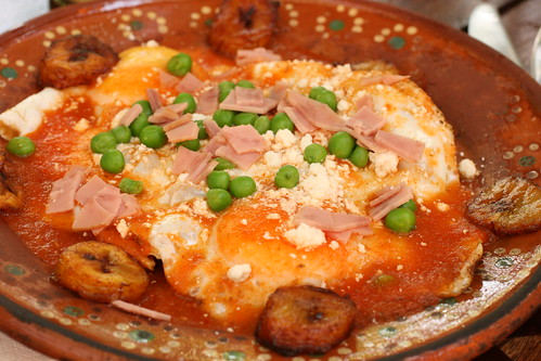 corn tortilla, beans, fried eggs, ham and peas, plantians