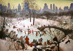 Skating in Central Park (cliff1066) Tags: park newyorkcity winter newyork sport architecture skyscraper painting season landscape paint cityscape play centralpark skating canvas fabric commercial oil recreation agnes 1934 tait newdeal saam skatingincentralpark agnestait publicworksofart sportandplay newdealforartists picturingthe1930s