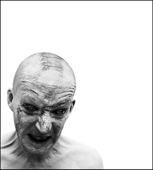 Snarling- man (Danielle_T) Tags: portrait blackandwhite man art halloween strange face digital dark weird insane intense scary eyes mud emotion head zombie sony dream surreal freaky creepy spooky psycho angry scarey horror nightmare unusual mad potrait gaw nasty gruesume danielletunstall