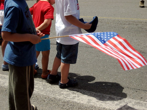 kids and flag