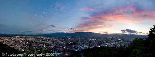 Fukushima city panorama sunset