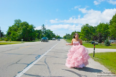 DSC_0073 (Silver Cat Photography) Tags: pink portrait girl nikon highway dress michigan prom thumb hitchhiker hitch route23 hitchhike oscoda promdress us23 d80 nikond80 msphotography