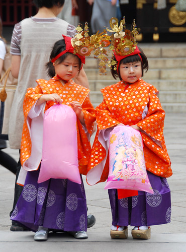 adorable girls at local temple, tokyo