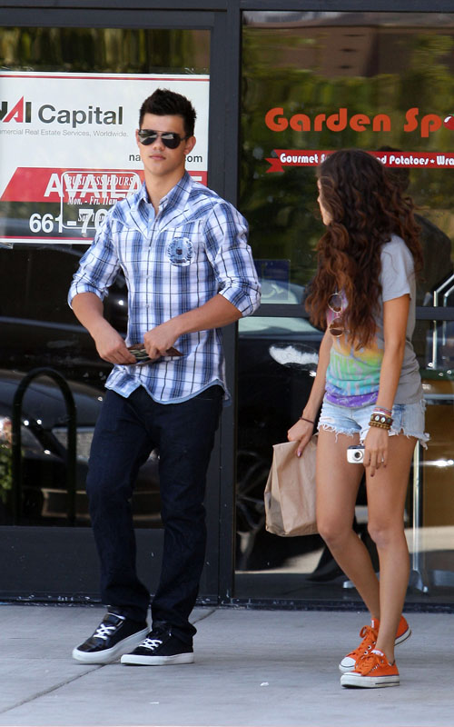 Taylor Lautner & Sister Leaving Chipotle Restaurant In Los Angeles