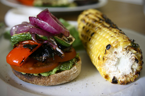 Dinner: Grilled Veggie Sandwich and Sweetcorn