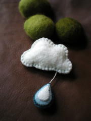 rainy day brooch (lilfishstudios) Tags: cloud wool felted pin handmade brooch craft badge accessories raindrop lilfishstudios