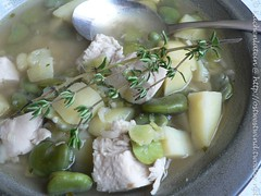 chicken, rice and broad bean soup