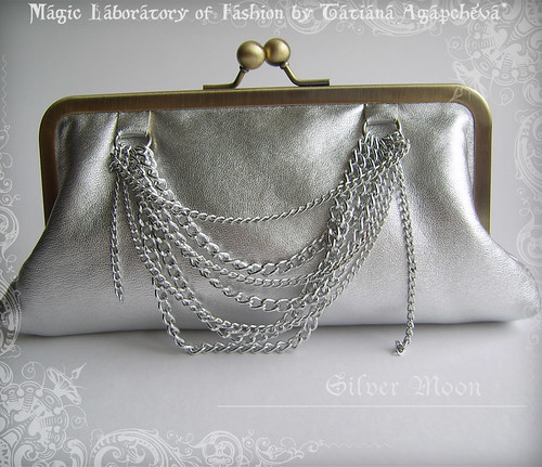 SILVER MOON Wedding or Special Ocassion Shiny Faux Leather Luxury Clutch with Chains