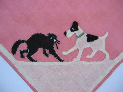 cat and dog hanky