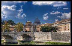 Lungo il Tevere (Winzy) Tags: roma landscape fiume ponte cupola tevere acqua sanpietro hdr