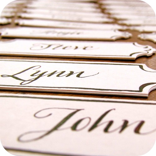 escutcheon style place cards