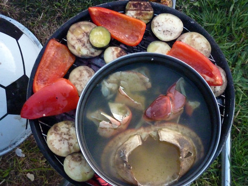 Crab stock and veg