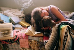 (Tommy Petroni) Tags: stella dog vintage reading bed quilt relaxing books burning smell blanket sammy incense
