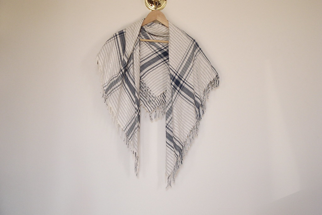 H&M printed fringe scarf