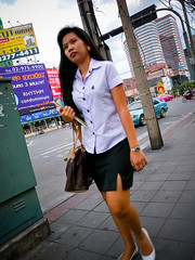 University Student in Northern Bangkok (GB-in-TH) Tags: thailand student uniform asia bangkok candid th krungthep   huaykhwang  huaikhwang