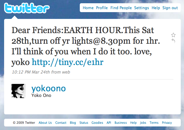 another 'earth hour' tweet
