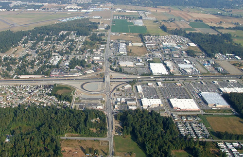 Aerial view of I-5/SR 531 (Smokey Point) interchange