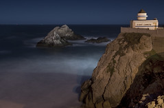 The Camera Obscura at Night (Matt Granz Photography) Tags: ocean sanfrancisco california longexposure sunset reflection water night twilight nikon cliffs pacificocean shore sutro bluehour cliffhouse sealrock d90 thecameraobscura