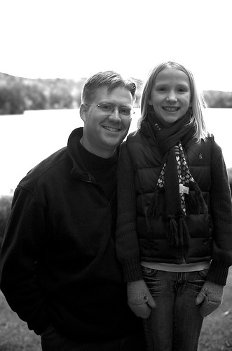 Dad and Daughter in black and white