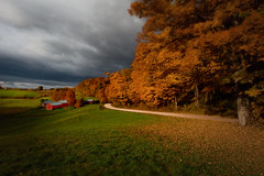 An Autumn Place (Photography by Steven Frudak) Tags: longexposure autumn trees shadow sky leaves farmhouse sunrise spectacular landscape photography vermont day wideangle foliage nik steven sideview ultrawide splendid supershot jennefarm abigfave overtheexcellence stevenfrudak selectivecontrast frudak