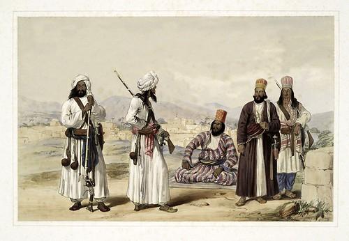 011-Hajee Ebrahim,comandante de los Rangers de Bolan y hombres de la tribu Brahoee-Character and costumes of Afghanistan 1843-James Atkinson