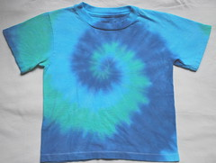 4T tie dye short sleeved shirt-blues/green