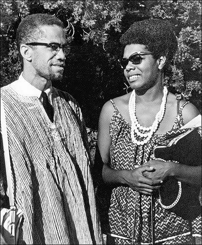 Malcolm X of the Organization of Afro-American Unity and the Muslim Mosque, Inc. talks with Maya Angelou, writer and actress, in Ghana during May 1964 when Malcolm visited the country. by Pan-African News Wire File Photos