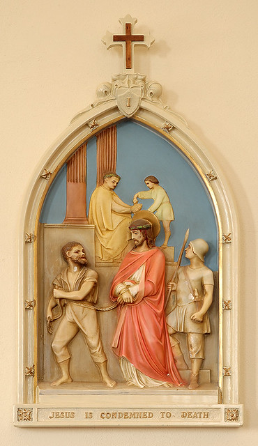 Saint Gertrude Roman Catholic Church, in Grantfork, Illinois, USA - First Station of the Cross - Jesus is condemned to death