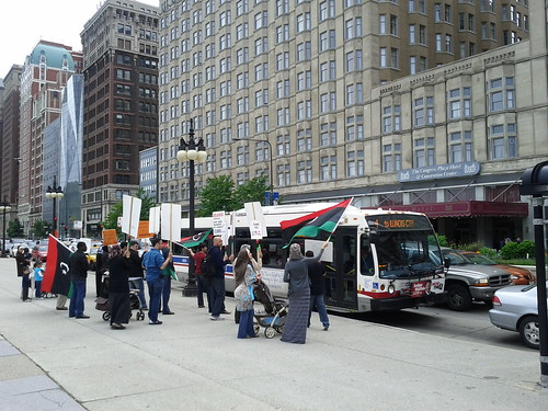 Libyan protest on Michigan Avenue