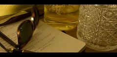 (HURTADOpri) Tags: alcohol whisky pluma notas libreta palabras rayban botella reservado