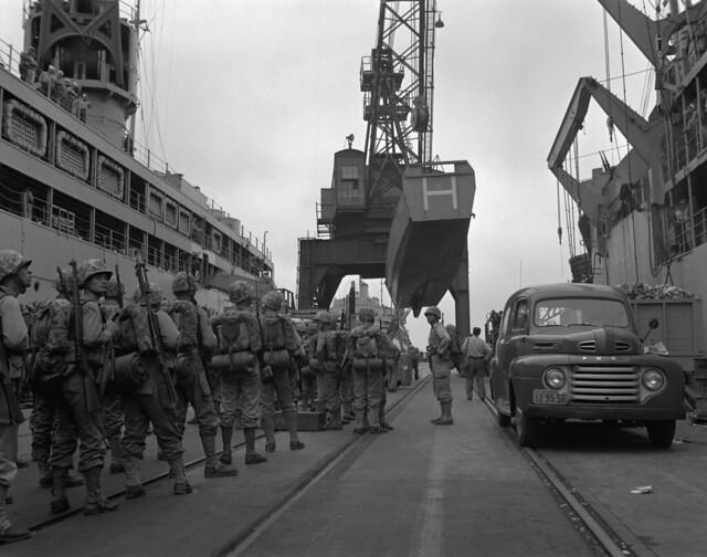 Korean War - 80-G-416563 First Marine Division embark for Korea by US Army Korea - IMCOM