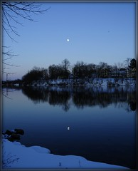 Erie Moon Reflection (Tony Fischer Photography) Tags: blue usa moon white snow ny newyork reflection tree ice water mirror canal us erie abigfave platinumphoto theunforgettablepictures platinumheartaward elitephotography betterthangood rubyphotographer 100commentgroup flickrcinated