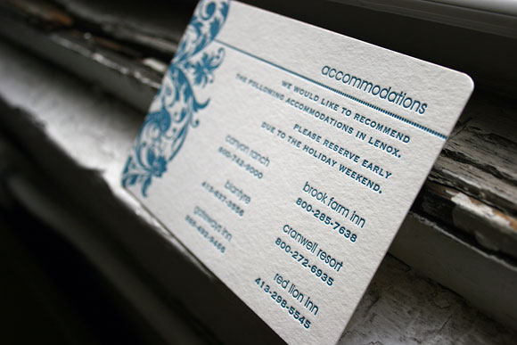Letterpress accommodation card for wedding invitation suite - by Smock