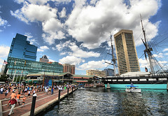 Baltimore Harbor (` Toshio ') Tags: windows people woman men architecture buildings boats person harbor women colorful downtown ship worldtradecenter maryland baltimore tourists tallship hdr constellation innerharbor ussconstellation toshio aplusphoto