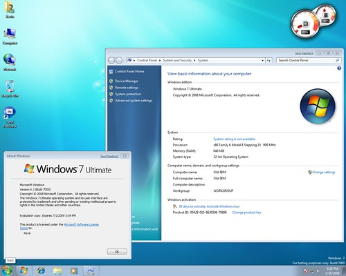 Windows 7 Beta on pIII 1ghz