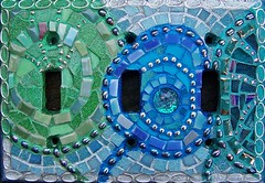 Switchplate (sucra88) Tags: blue green glass star mirror beads mosaic switchplate millefiore mosaicswitchplate