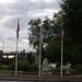 Vernon - flags by the war memorial