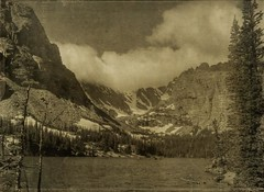 loch vail (jssteak) Tags: park lake snow mountains water clouds colorado cliffs fade aged ridgeline textured rockymountainnationalpark layered vintagephoto fauxvintage lochlake dragondaggerphoto
