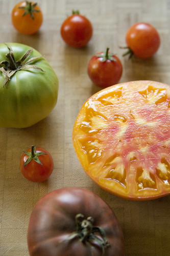 Multi-colored heirloom tomatoes