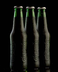 The best beer in the world? (david.kittos) Tags: black green beer three bottle alcohol booze carlsberg strobist