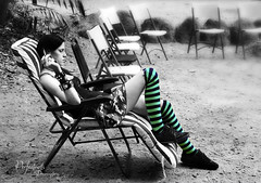 Black & Green stripes.... (Ingrid Douglas Images - ART in Photography) Tags: bw selectivecolouring stripedsocks peoplephotography perfectoarts ingridinoz dreamcaptures blackandgreenstripedlongsocks