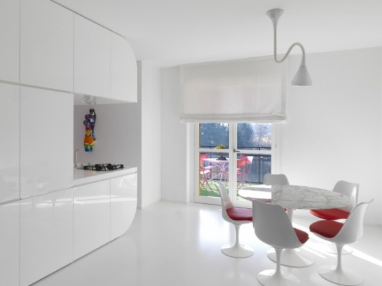 Red and White Inspired Apartment
