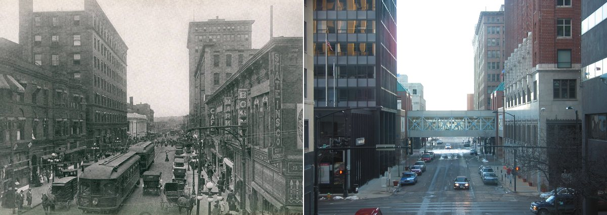 6th and Locust looking south, in 1911 and 2009.  Man, I cant believe we got rid of those trams!  Des Moines looked a lot more lively in a hundred years ago :(  Shopping still existed downtown, and there was even a cafe!