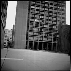 The Wide Open Spaces of Robert Moses (parkluck) Tags: new york city nyc newyorkcity blackandwhite bw 120 film mediumformat manhattan delta squareformat pro ilford greenwichvillage yashicamat 100iso robertmoses