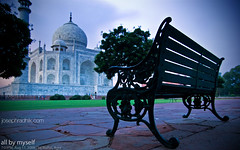 All by myself (Joseph R) Tags: india love beauty couple indian taj tajmahal agra romance company nostalgia lonely lonelyplanet desolate 2009 poignant northindia eveningskies incredibleindia sonyalpha tamron1750f28 thegreatdrivingchallenge2009 lpseats josephradhik