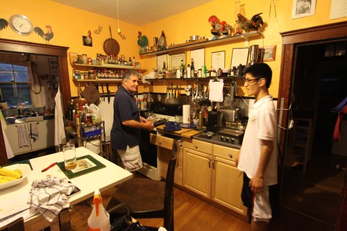 Peter and Bin (lodger) in the kitchen in Dorchester.