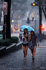 Two girls caught in the rainstorm; Shibuya, Tokyo (Alfie | Japanorama) Tags: street ladies girls storm girl rain japan umbrella photography tokyo nikon women shibuya young raindrops rainstorm raining downpour d300 peopleintherain torrential caughtintherain photosfromtokyo peopleintokyo nikkor85mmf14afd streetphotographyintokyo streetphotographyinjapan